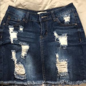 Destroyed Distressed Ripped Denim Skirt Size 24